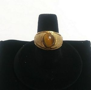 Gold tone tigers eye ring sz 8 electro plated